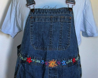 Embroidered Bibs / Embroidered Overalls / Hand Embroidery / Maternity Bib Overalls / Overalls / Hippie / Boho / Flower Power / Upcycled