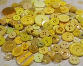 Bright Yellow Plastic Buttons 100+ Yellow Plastic Crafting Buttons