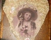 Vintage Lace Collage Hanging Heart Edwardian Spring Bloom Girl