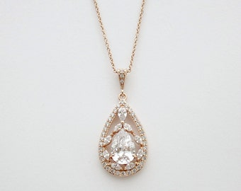 Rose Gold Cubic Zirconia Bridal Necklace Wedding Jewelry Pink Gold Teardrop Pendant Bridal Jewelry, Essy