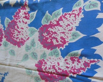 Vintage Cottage Tablecloth, Hydrangea, Blue & Pink, Cotton