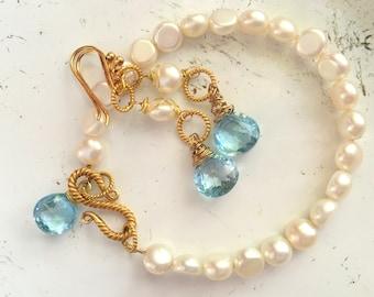 Freshwater Button Pearl Bracelet Set-Aquamarine-December Birthstone-Aquamarine and Pearl Earrings