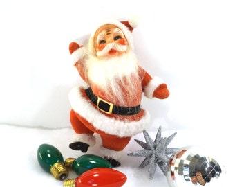 vintage 50s santa figure velvet standing leg waving winter figurine christmas holiday decorations decorative home decor red white plastic