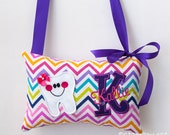 Purple Rainbow Chevron Girl Tooth Fairy Pillow - Custom Monogrammed Colors of Your Choice and Tooth Pocket