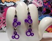 ON SALE - Mickey Mouse Double Head Purple Dangle Earrings