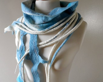 Felted Wool Scarf - Blue and White - Tails and Lace