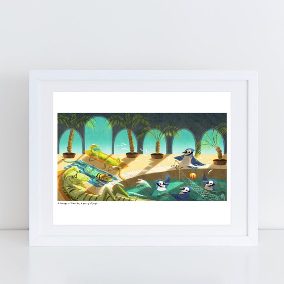 An Ambush of Tigers! (lounging lizards) - Signed Print from An Ambush of Tigers book