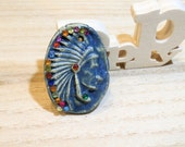 ceramic pendant  heart indian turquoise - poppy in the sky hig fired jewel - 5cm blue