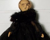 Mourning Doll Black mourning dress Wooden Doll Antique mourning doll