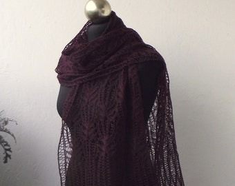 lace scarf, Burgundy hand knitted shiny lace scarf with Frost Flowers pattern, SPRING SALE 25% OFF