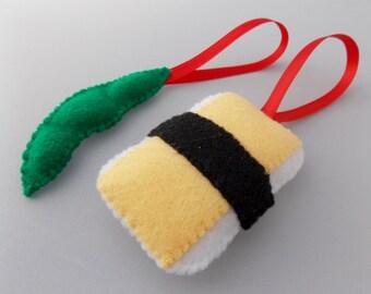 Felt Sushi Christmas Ornaments - Tamago & Edamame