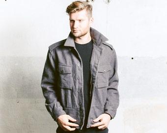 Swedish ARMY Jacket . Vintage 70s Men's Grey Slim Coat Wool Coat Military 1970s Outerwear Hipster Boyfriend Gift . size XL