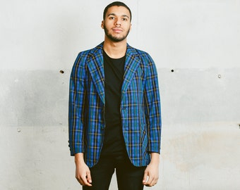 PLAID Blazer . Mens Blue Norfolk Jacket Vintage 70s Bold Belted Sport Coat Preppy Rare Lightweight Summer Blazer . sz Small Medium