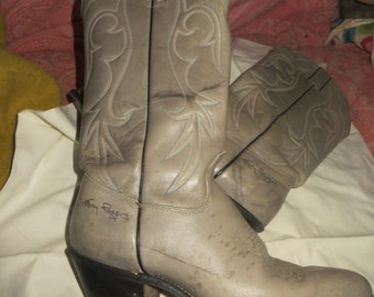 vintage womens Kenny rogers  80s gray western cowboy boots sz 7.5 m