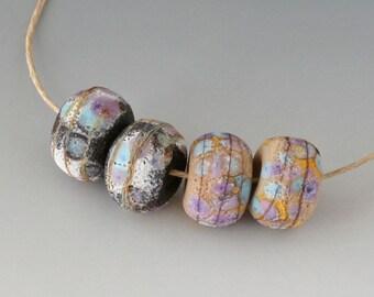 Rustic Sedona Nuggets- (4) Handmade Lampwork Beads -  Lavender, Black, Sage