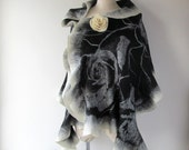 Black Felted scarf Floral felt scarf warm wool shawl Wool Floral wool stole plus size shawl white black flower Folk women felt shawl