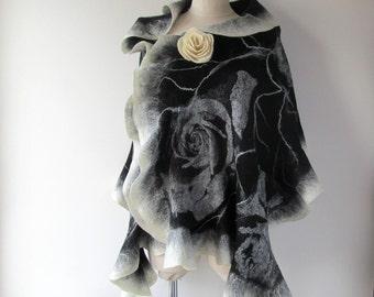 Black Felted scarf,  Floral felt scarf,  warm wool shawl, Wool  Floral wool stole , white black flower, Folk women felt shawl by Galafilc