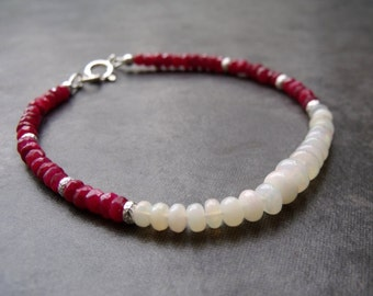 Red Ruby with Ethiopian White Opal Gemstone  Stardust Silver Bead Sterling Silver Stacking Bracelet