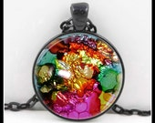 Alcohol Ink Necklace - Art Pendant - Art Necklace - Alcohol Ink Pendant - One Of  A Kind Art - AI-6