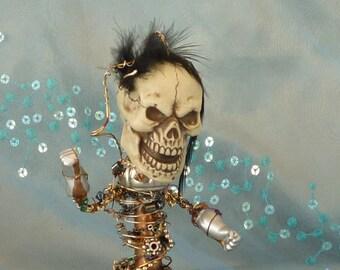 Skull Art, Cyber Art Skull, Robot Assemblage by GothB4play