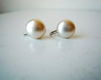 Vintage Ivory Faux Pearl Screw Back Button Earrings, SALE