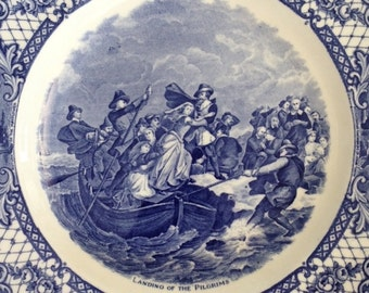Landing of the Pilgrims Plate, Crown Ducal, England, Colonial, Blue Transfer, Commemorative, Mayflower, Plymouth,  Wall Hanger, Vintage