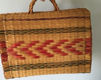 Rare 60s Structured Woven Tote   •  Colorful Woven Bag  •  Carry All Vegan Bag  •  Vintage Striped Long Strap Bag  •  Unique rare bag