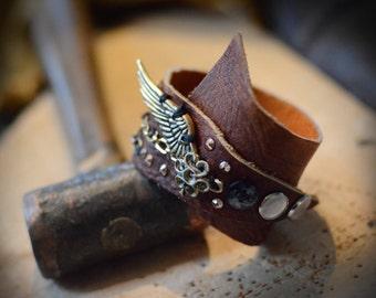Rock n' Roll layered leather cuff bracelet