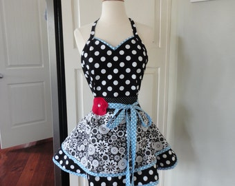 "Classy Cook  ""Sadie Mae Style""  Women's Black Swirl Apron ~ 4RetroSisters"