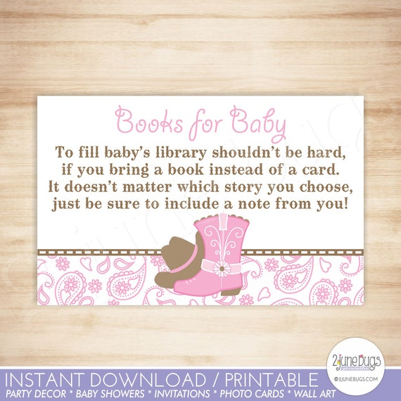 Cowgirl baby shower book request cards western baby girl shower il570xn filmwisefo