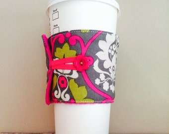 Coffee Cup Cozy, Coffee Cup Sleeve, Cup Cozy, Cup Sleeve, Reusable Coffee Sleeve - Avocado Pink Damask [08]