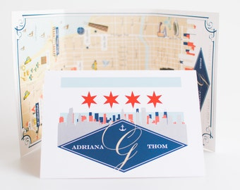 Chicago Tri-Fold Map. Wedding Map. Welcome Map. Same Style, your location. Wedding Map Art