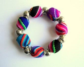 Statement Tribal fabric Chunky beads Bracelet, Woven design, bohemian Beads