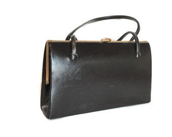 Leather Kelly Bag 1950s Made in England for Gimbels Black with Sueded Lining