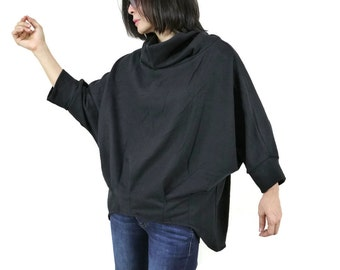 3/4 Batwing Sleeve Pleated Curve Hem Short Front Long Back Black Brushed Polyester Mix Cotton Pullover Cowl Neck Sweater Women Tops