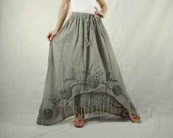 Plus Size Funky Boho Gpysy Hippie Floral Applique Dusty Olive Taupe Double Layer Light Cotton skirt Size 8 To Size 22