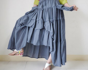 Take Me To Your Heart ... Steampunk Short Front/ Long back Tiered  Dusty Airforce Light Cotton Skirt With 2 Roomy Pockets