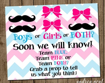 Twins Gender Reveal Sign, INSTANT DOWNLOAD, Printable Party Decor, Boys Girls or Both, Prop Sign, Mustache or Bow 8x10 jpeg pdf