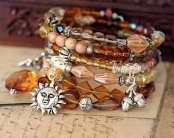 Beaded Memory Wire spiral Wrap Bracelet - Amber and browns - Wrap around bracelet - Coil bracelet