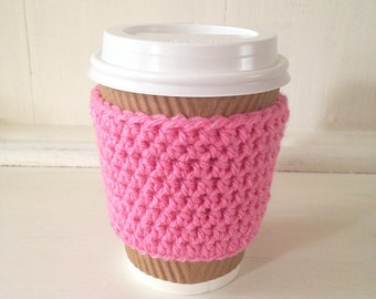 Coffee Cup Cosy in Pink, Crochet Coffee Cozy