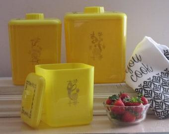 vintage kitchen decor - canister set - bright yellow - starburst