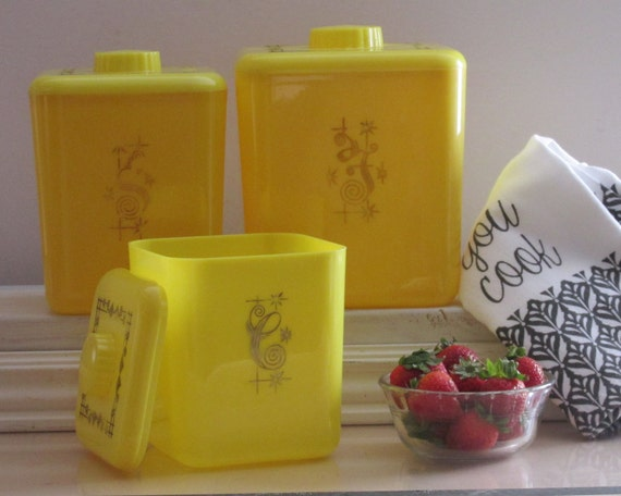 bright yellow kitchen accessories vintage kitchen decor canister set bright yellow 4918