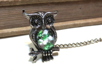 Vintage Antique Silver Owl Tie Tack Clip with Glass Harlequin Opal - Green White Black Yellow White Pink