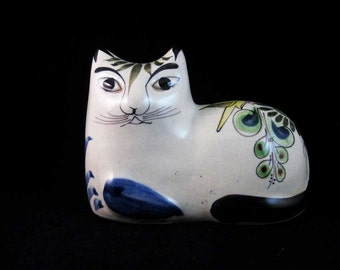 Vintage Hand Painted Pottery Cat Made In Mexico Signed!