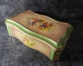 Vintage hinged metal floral tin Wedding decor card box  farmhouse chic home decor wedding decor weddings decorations box