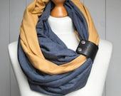 COTTON infinity scarf with leather cuff, infinity scarves, fashion scarf, cotton jersey, ZOJANKA