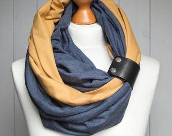 COTTON infinity scarf with leather cuff, infinity scarves, fashion scarf, cotton jersey, ZOJANKA, cotton jersey infinity scarf with strap