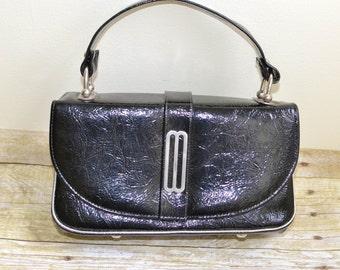 Vintage Black Handbag, Mod Style Naturalizer Brand Purse, Retro 1960s Bag
