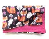 Fox Baby Blanket - Receiving Blanket - Minky Blanket - Soft Flannel Throw - Orange Foxes - Woodland Animals Print - Baby Girl Gift