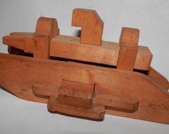 antique wood tank puzzle  japan